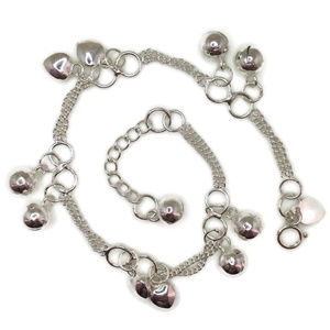 anti-tarnish 925 silver bracelet double chain ball